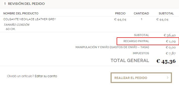 Recargo PayPal en Magento